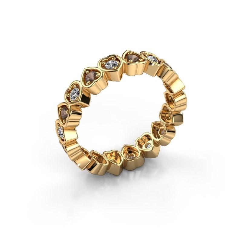 Stackable ring Pleun 585 gold smokey quartz 2 mm