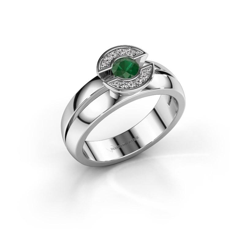 Ring Jeanet 1 925 zilver smaragd 4 mm