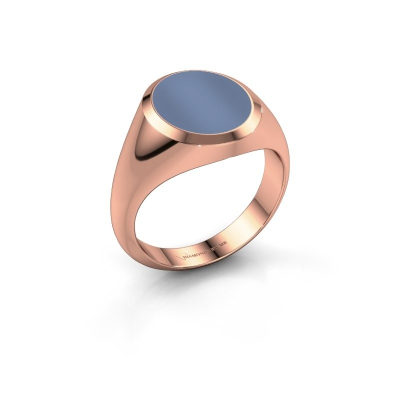 Zegelring Herman 3 375 rosé goud licht blauwe lagensteen 13x11 mm