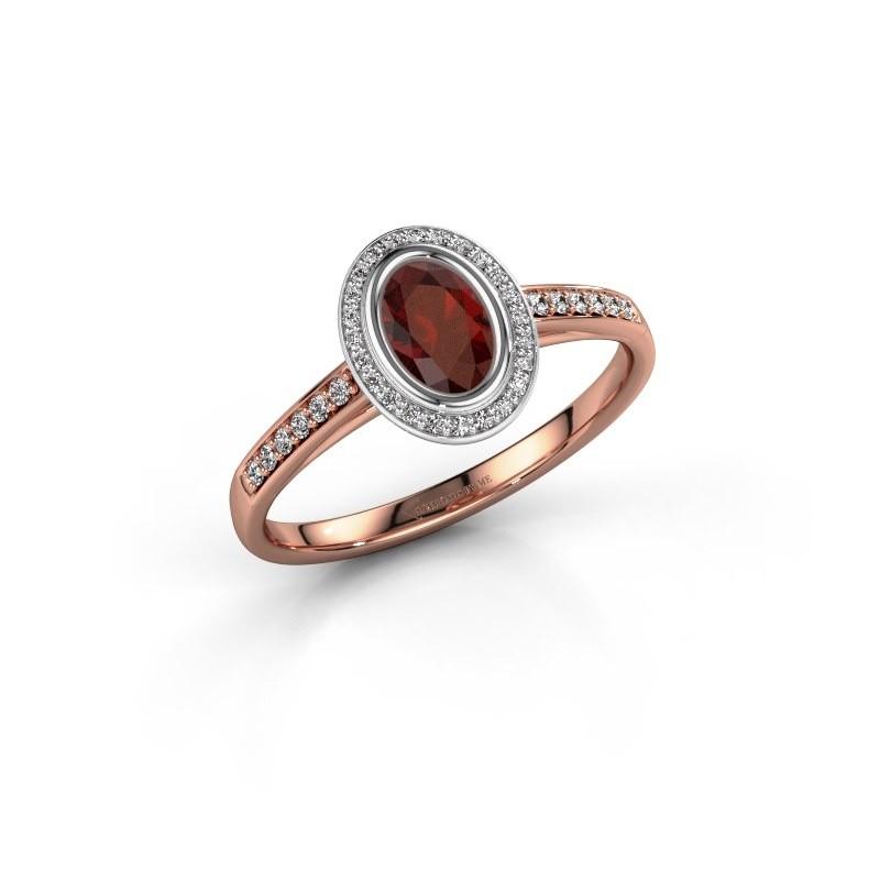 Engagement ring Noud 2 OVL 585 rose gold garnet 6x4 mm