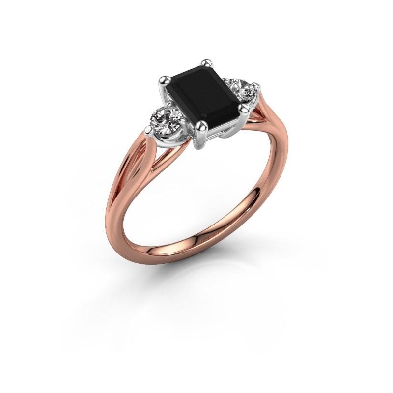Verlovingsring Amie EME 585 rosé goud zwarte diamant 1.580 crt