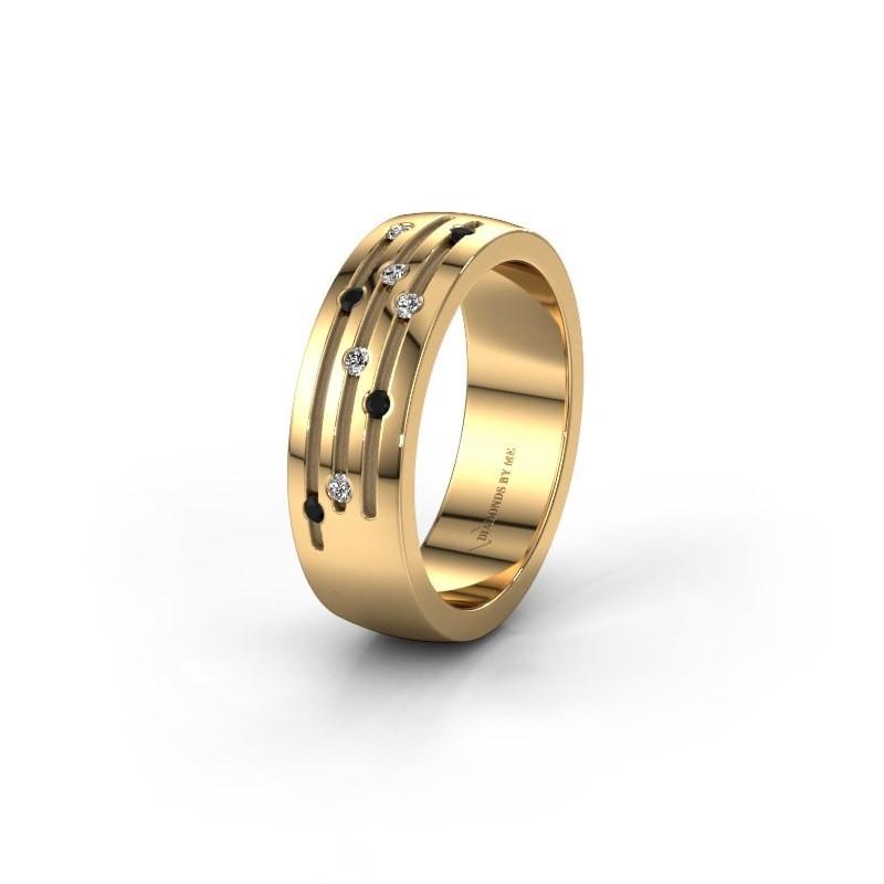 Trouwring WH0134L26B 585 goud zwarte diamant ±6x2 mm