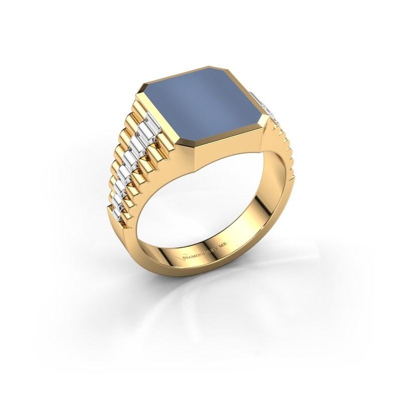 Zegelring Brent 2 585 goud licht blauwe lagensteen 12x10 mm