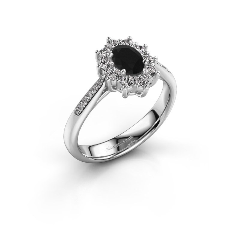 Verlovingsring Leesa 2 585 witgoud zwarte diamant 0.60 crt