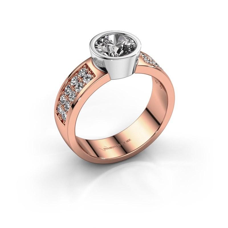 Verlovingsring Ise 3 585 rosé goud diamant 1.40 crt