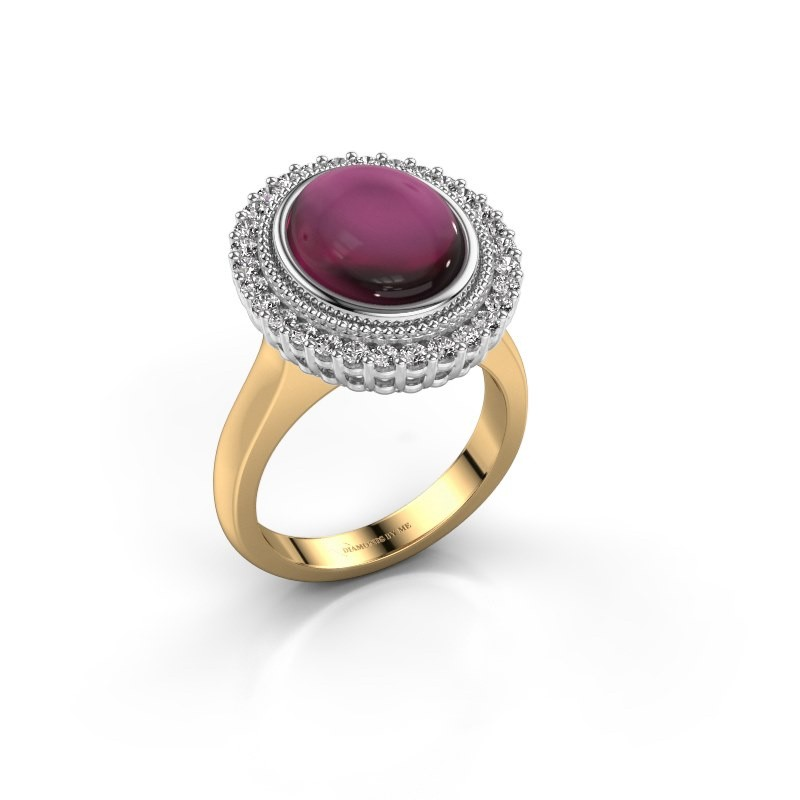 Ring Mila 585 goud rhodoliet 12x10 mm