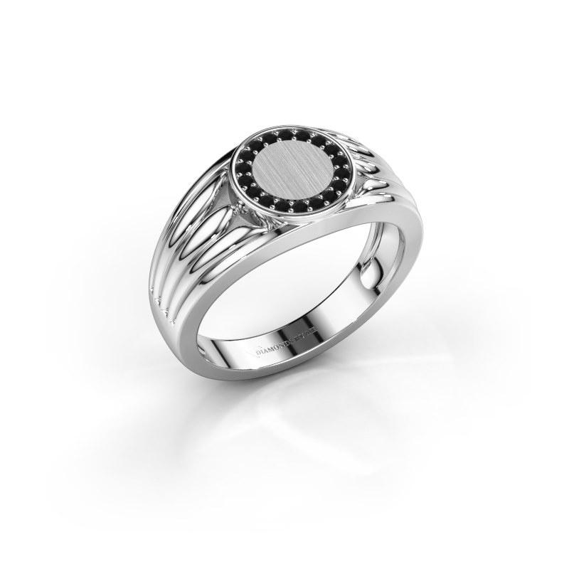 Pinky Ring Jacobus 585 Weißgold Schwarz Diamant 0.162 crt