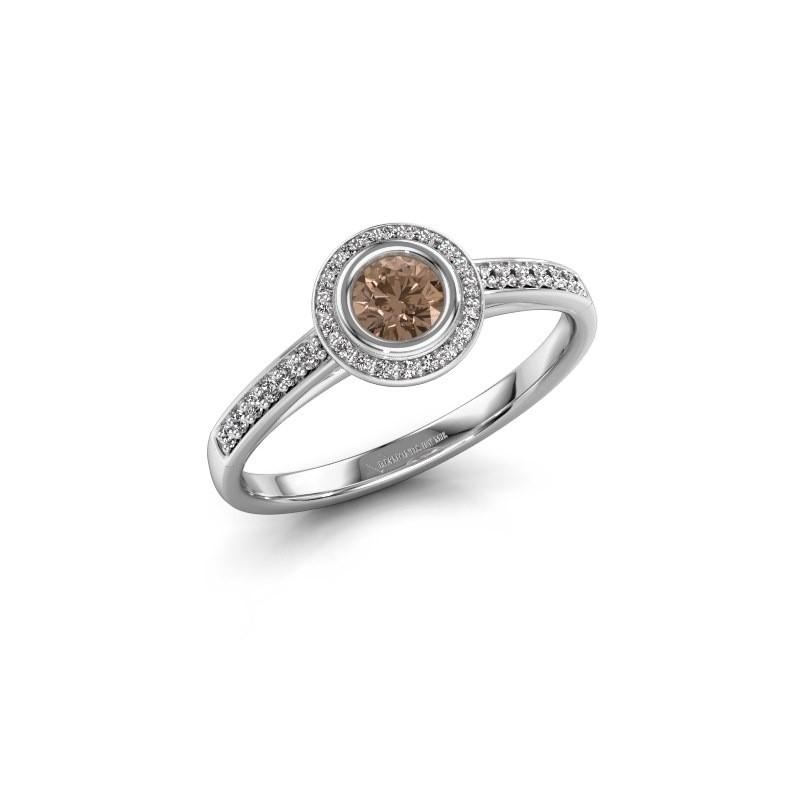 Verlovingsring Noud 2 RND 950 platina bruine diamant 0.39 crt