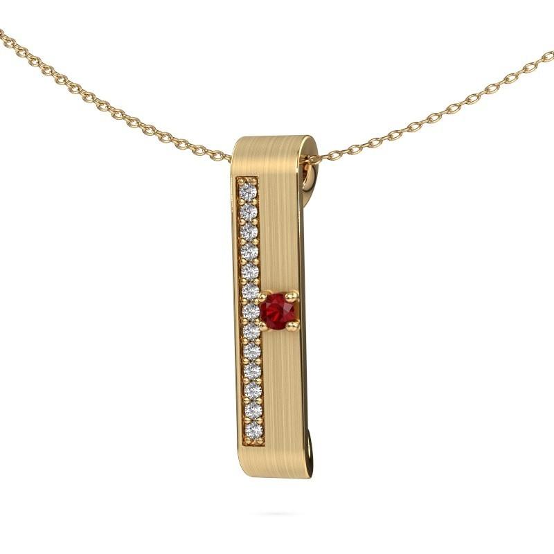 Halsketting Vicki 375 goud robijn 3 mm
