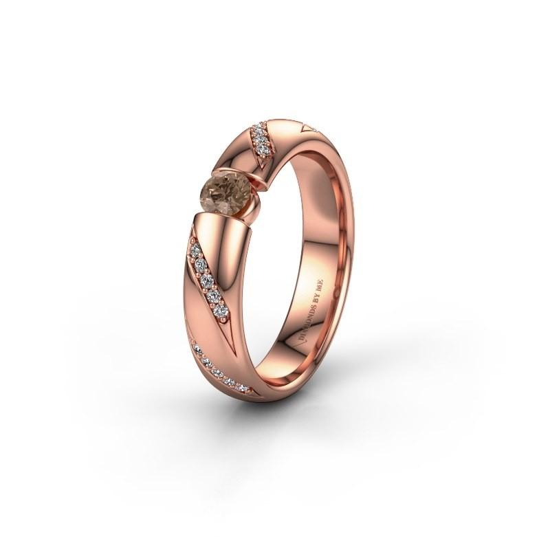 Trouwring WH2102L34A 375 rosé goud bruine diamant ±4x1.7 mm