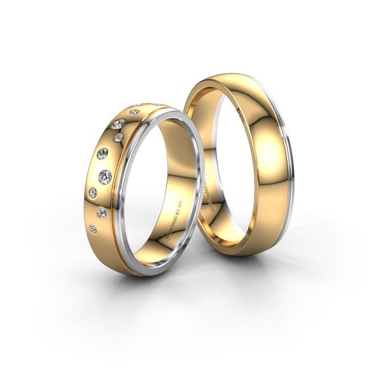 Trouwringen set WH0517LM25AP ±5x1.7 mm 14 karaat goud diamant 0.02 crt