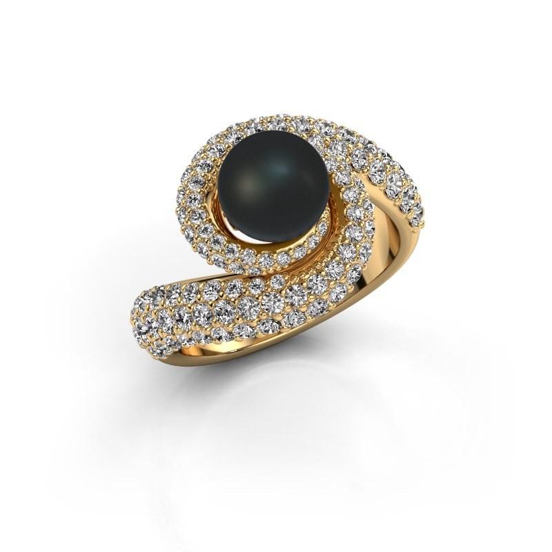 Ring Klasina 375 goud zwarte parel 7 mm
