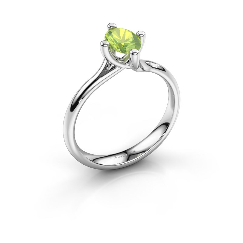 Engagement ring Dewi Oval 925 silver peridot 7x5 mm