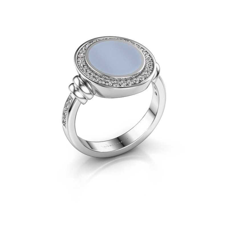 Zegelring Servie 2 950 platina licht blauwe lagensteen 12x10 mm