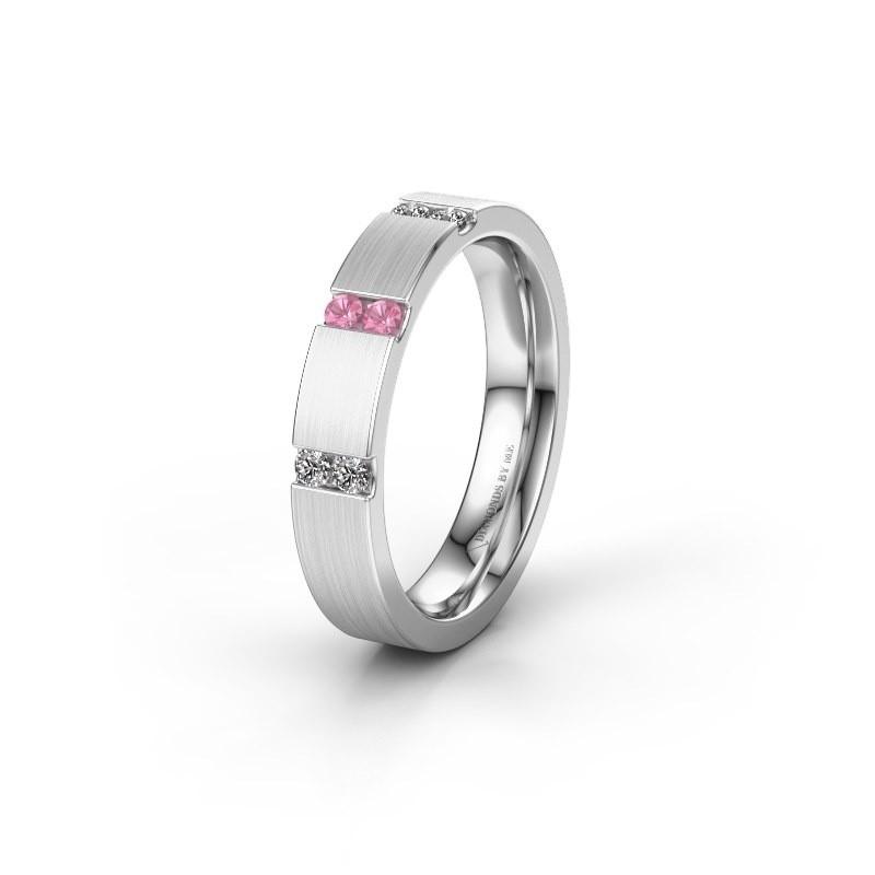 Wedding ring WH2133L14BM 585 white gold pink sapphire ±4x2.2 mm