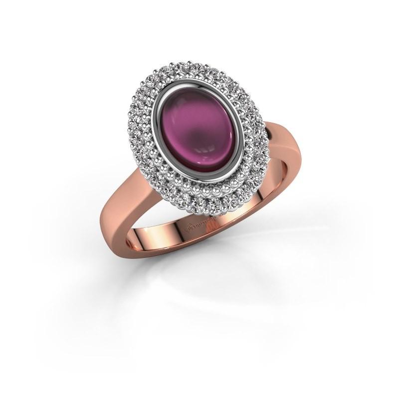Ring Maartje 585 rosé goud rhodoliet 8x6 mm