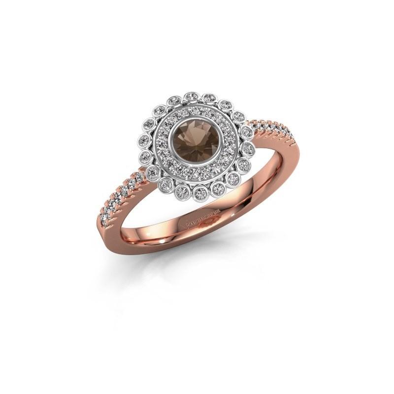 Verlovingsring Shanelle 585 rosé goud rookkwarts 4 mm
