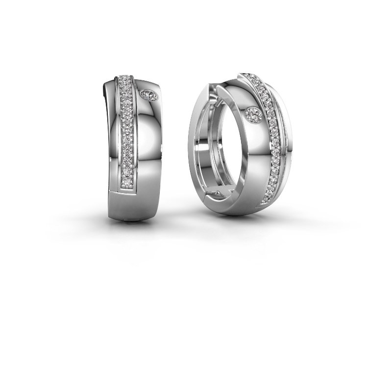 Creolen Shakita 585 witgoud diamant 0.21 crt