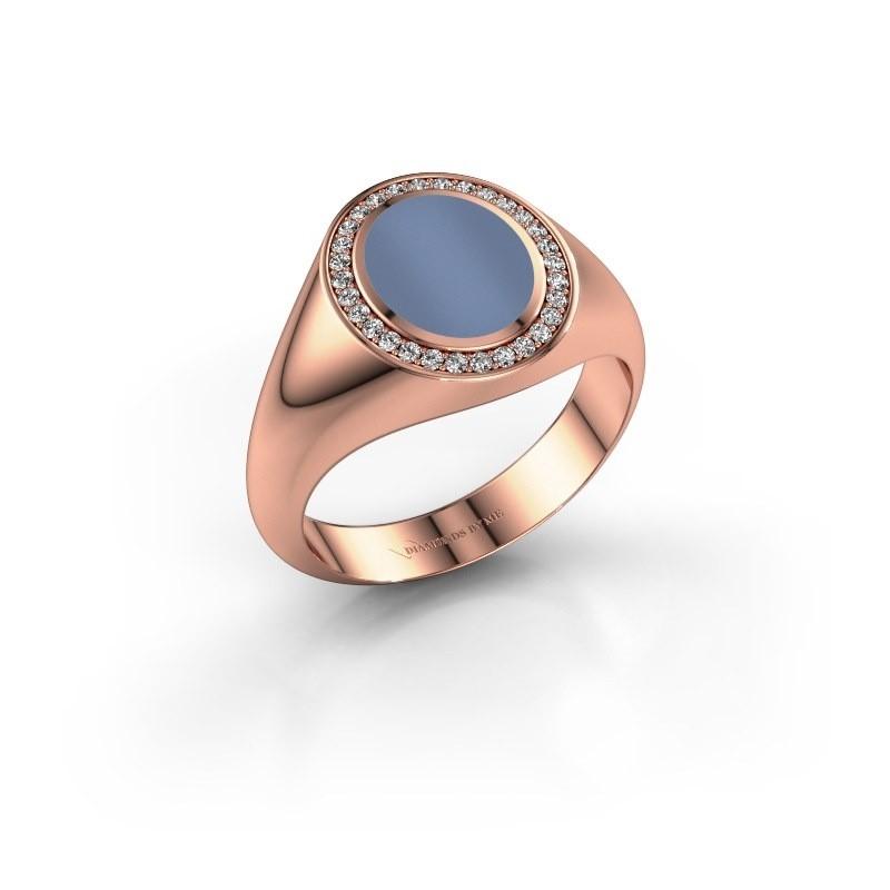 Pinky ring Adam 1 375 rose gold light blue sardonyx 10x8 mm