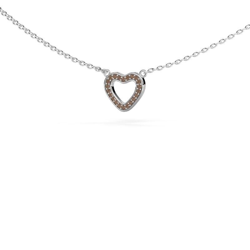 Hanger Heart 4 585 witgoud bruine diamant 0.055 crt