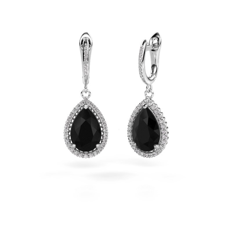 Pendants d'oreilles Tilly per 4 585 or blanc diamant noir 3.60 crt