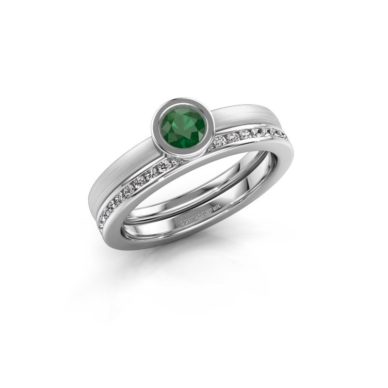 Ring Cara 585 white gold emerald 4 mm