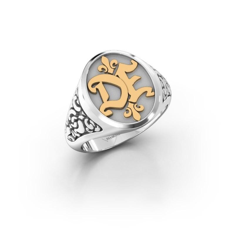 Monogram ring Brian 585 witgoud