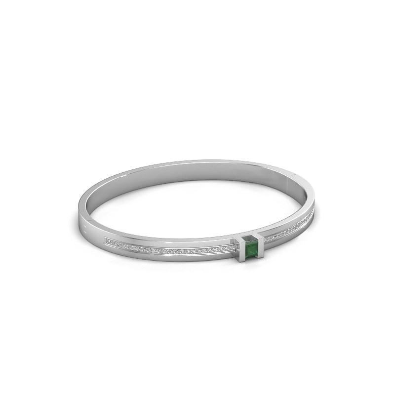 Armband Desire 585 witgoud smaragd 4 mm
