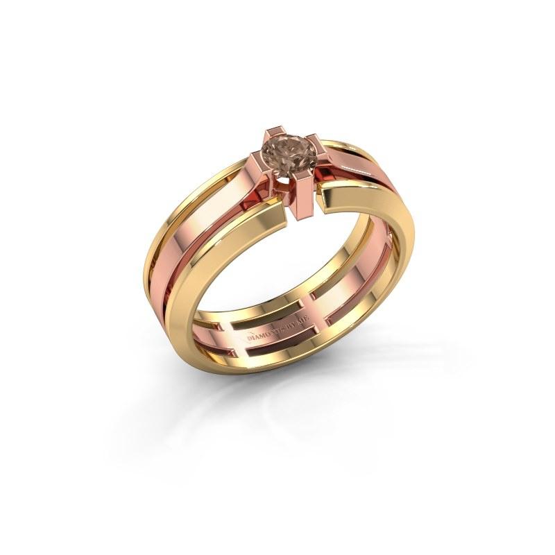 Herrenring Sem 585 Roségold Braun Diamant 0.40 crt