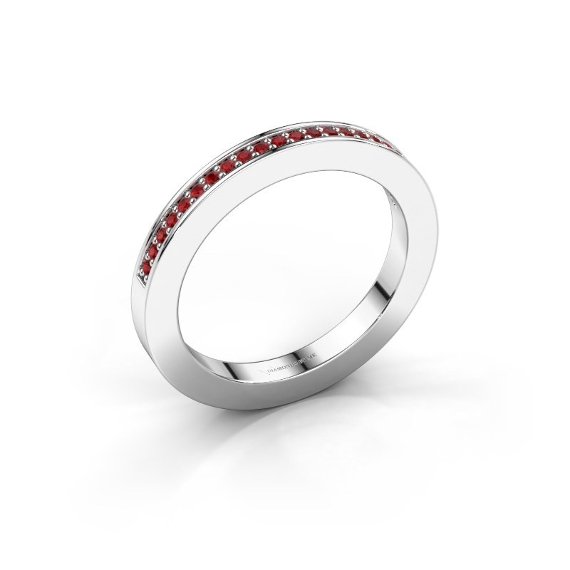 Stackable ring Loes 2 925 silver ruby 1.1 mm