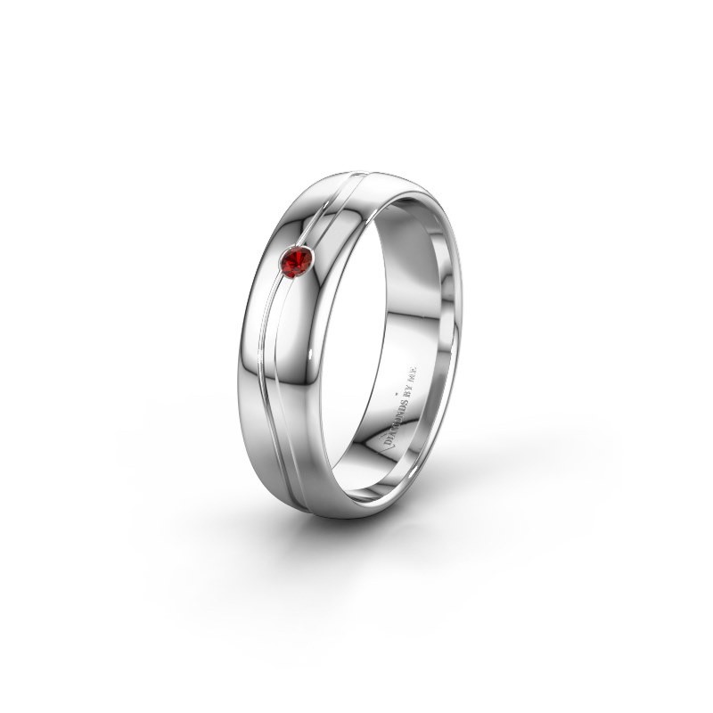 Wedding ring WH0905L35X 950 platinum garnet ±0.20x0.07 in
