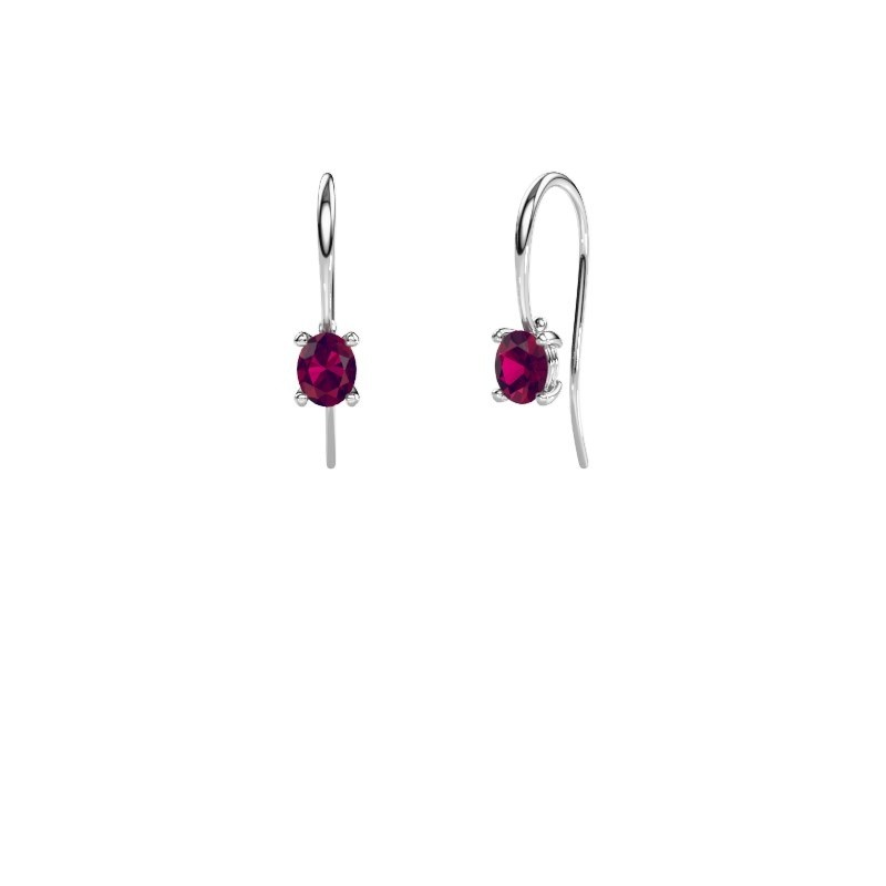 Drop earrings Cleo 375 white gold rhodolite 6x4 mm
