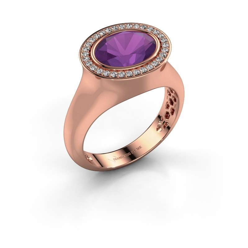 Ring Phebe 375 rose gold amethyst 10x8 mm