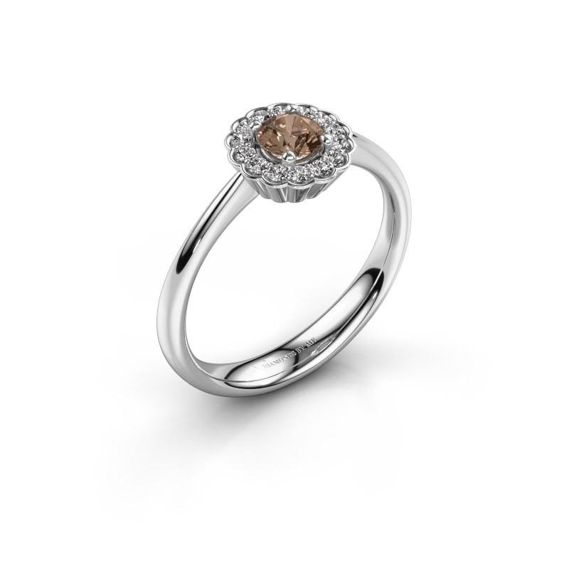 Verlovingsring Debi 950 platina bruine diamant 0.44 crt