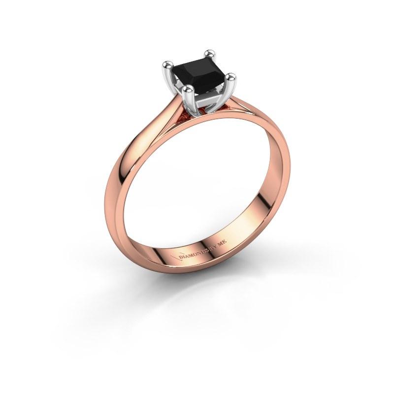 Bague de fiançailles Sam Square 585 or rose diamant noir 0.48 crt