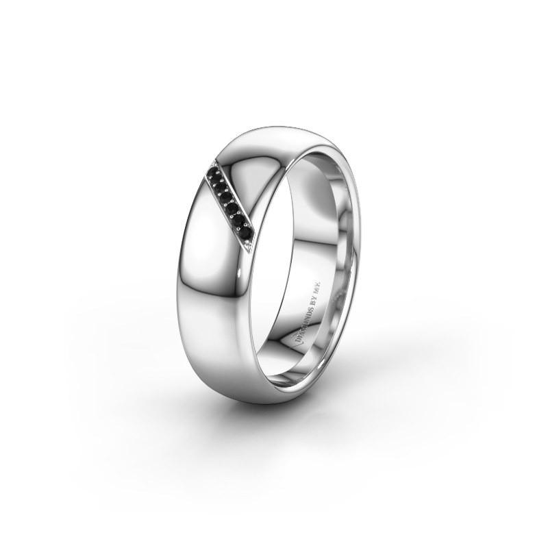 Trouwring WH0164L36B 950 platina zwarte diamant ±6x2 mm