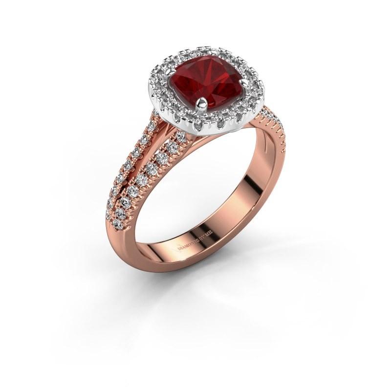 Verlovingsring Francesca 585 rosé goud robijn 6 mm