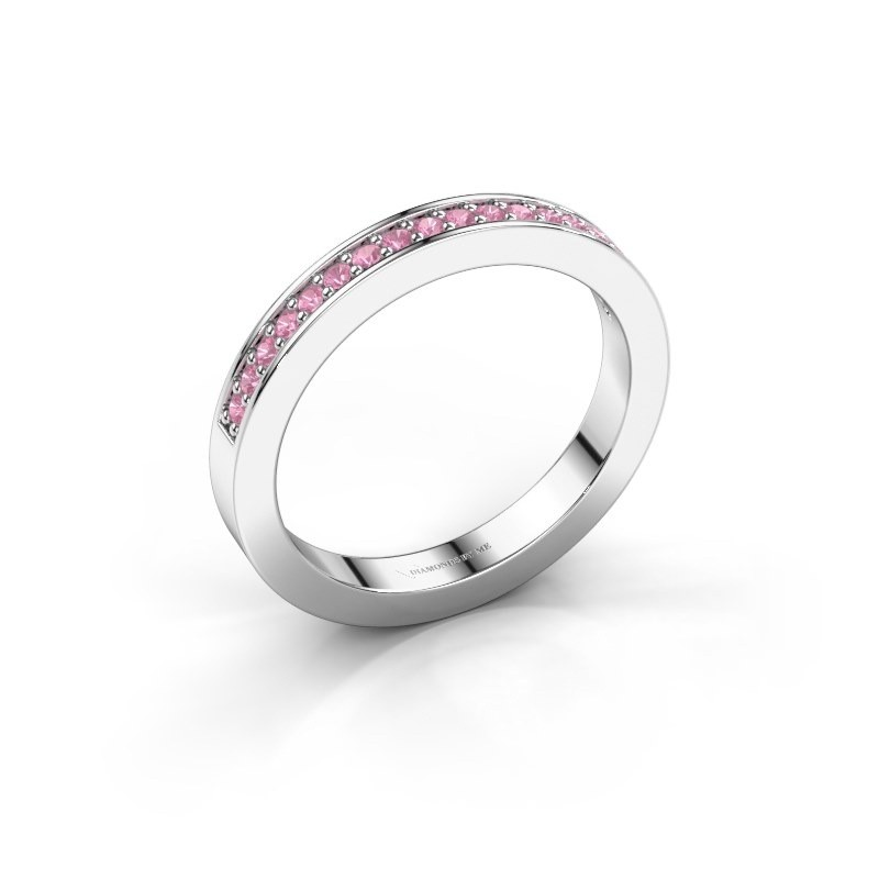 Stackable ring Loes 4 585 white gold pink sapphire 1.3 mm