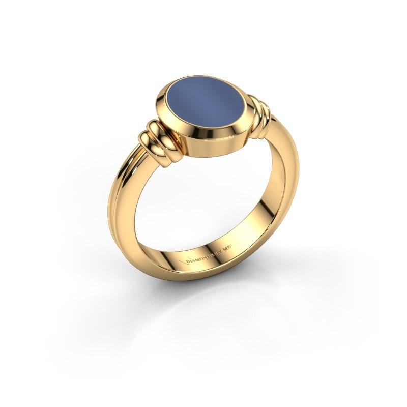 Pinkring Jake 1 585 goud blauw lagensteen 10x8 mm