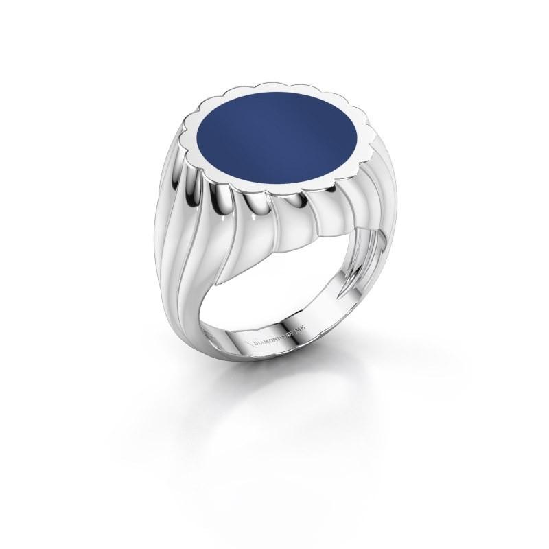 Zegelring Mano 375 witgoud lapis lazuli 13 mm
