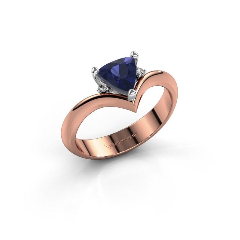Ring Arlette 585 rosé goud saffier 7 mm