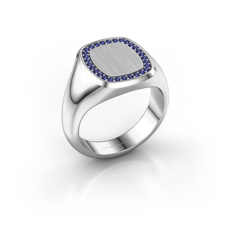 Heren ring Floris Cushion 3 585 witgoud saffier 1.2 mm