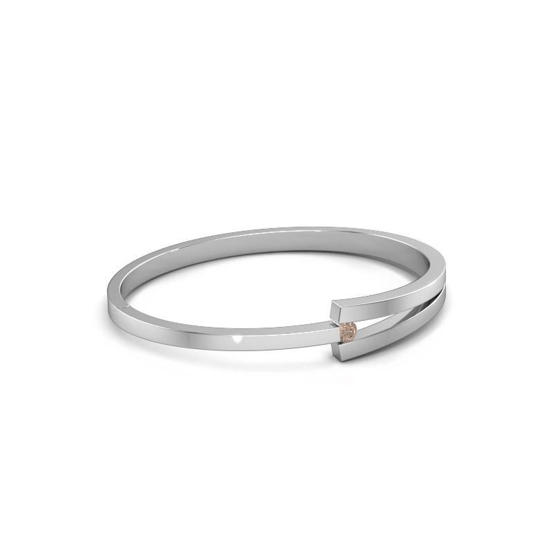 Slavenarmband Sofia 950 platina bruine diamant 0.25 crt