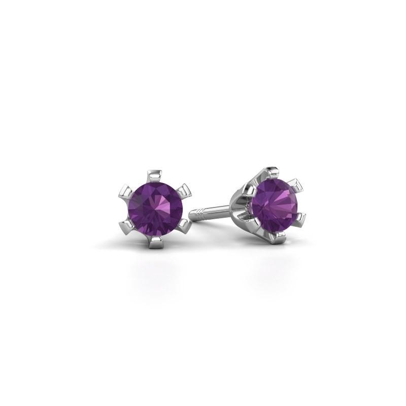 Stud earrings Shana 950 platinum amethyst 4 mm