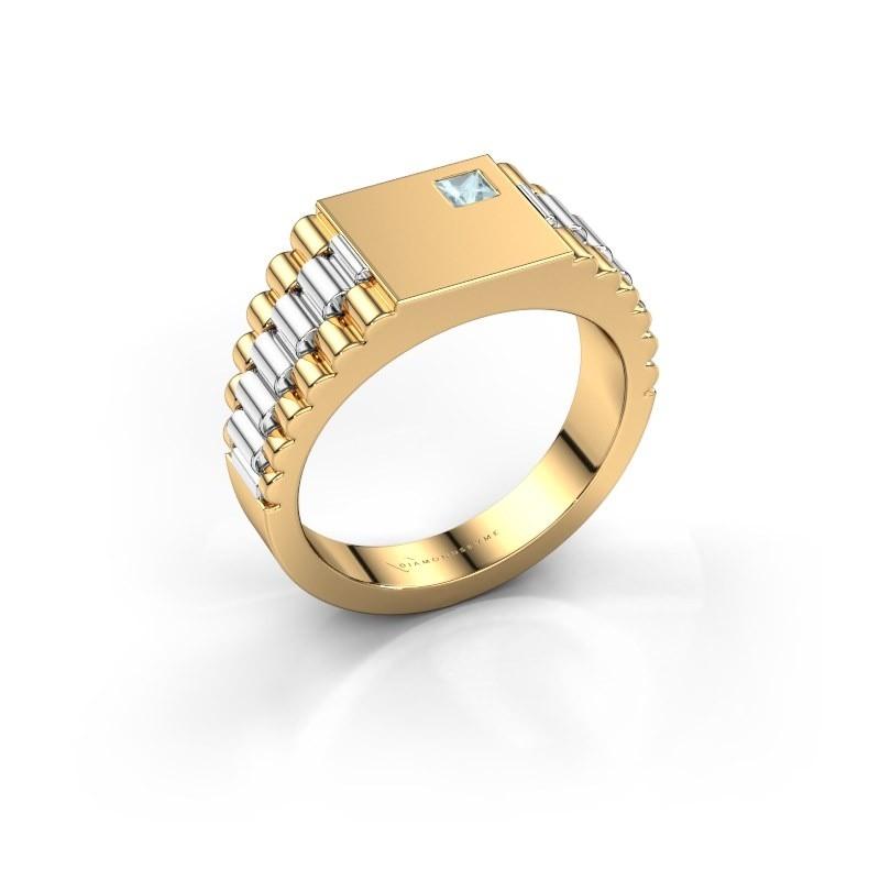 Heren ring Pelle 585 goud aquamarijn 3 mm