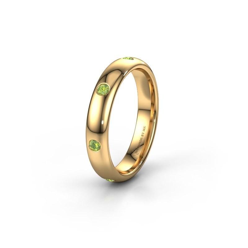 Wedding ring WH0105L34BP 375 gold peridot ±4x2 mm