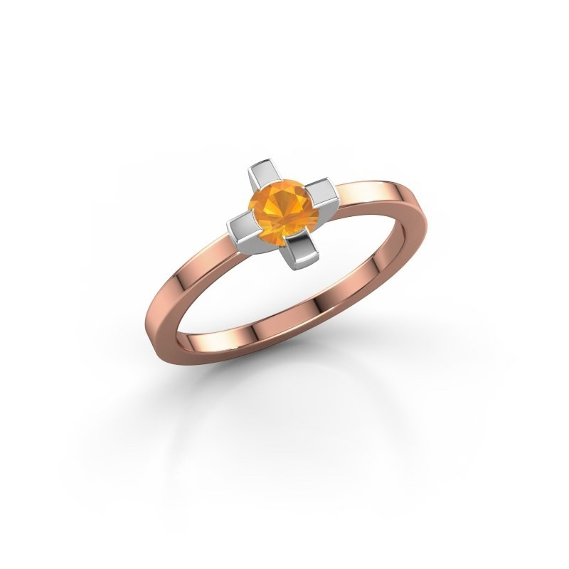 Ring Therese 585 rosé goud citrien 4.2 mm