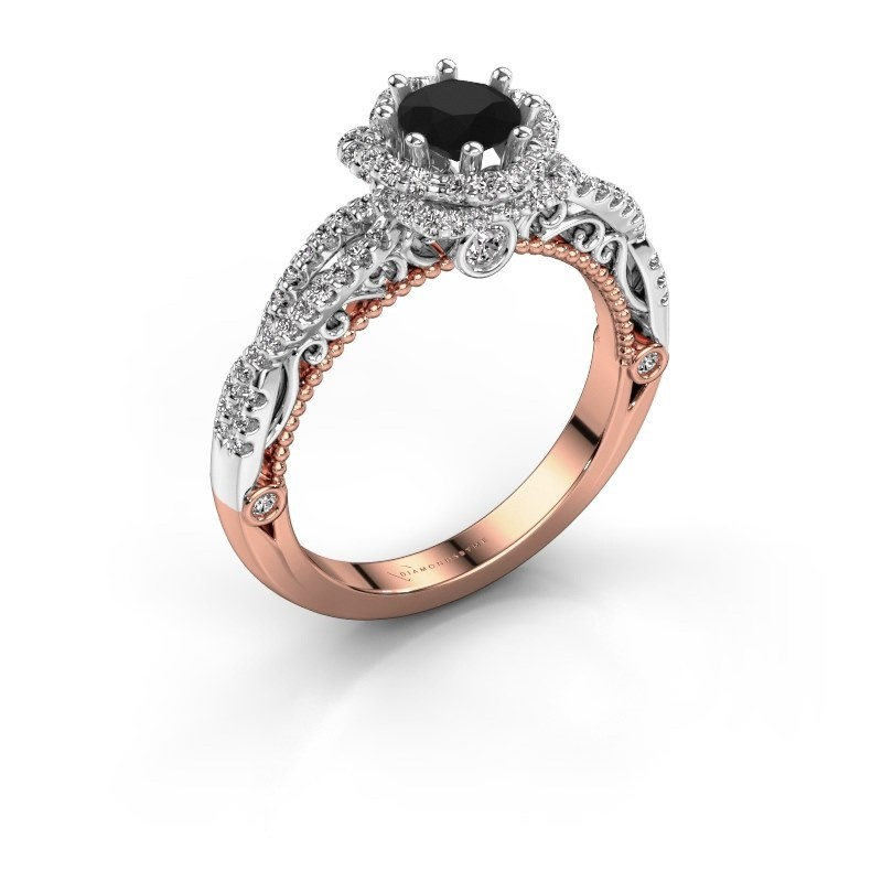 Engagement ring Lysanne 585 rose gold black diamond 1.05 crt