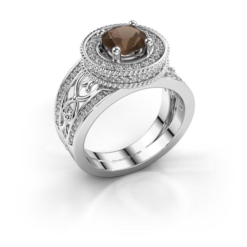 Ring Joy 585 witgoud rookkwarts 6.5 mm