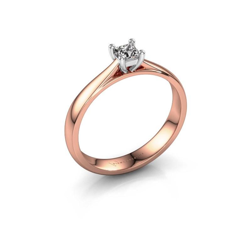 Bague de fiançailles Sam Square 585 or rose diamant 0.17 crt